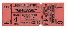 "Barry Bostwick ""GREASE"" Adrienne Barbeau / Eden Theatre 1972 Broadway Ticket"