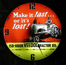 "Veedol Tractor Motor Oil Vintage Advertising NEW Wall Clock 14"" Light Sign"