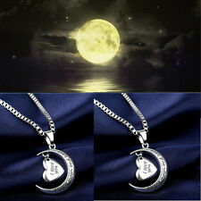 I Love You To The Moon & Back Heart Necklace Silver xmas Gifts For Wife /Mum +CZ