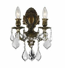 """2-Light Antique Bronze Finish W 12"""" x H 13"""" Diana Crystal Wall Sconce Light"""