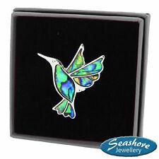 Hummingbird Brooch Paua Abalone Shell Bird Womens Silver Fashion Jewellery Gift