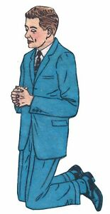 Vintage 1950's Praying Business Man Felt Board Applique 3-D Details 9 Inches