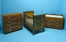 Dollhouse Miniature Complete Nursery Set Crib, Changing Table and Dresser 05089