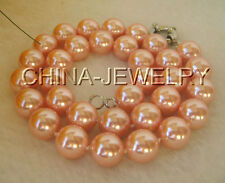"N1887-18"" 12mm pink perfect round south sea shell pearl necklace - GP clasp"