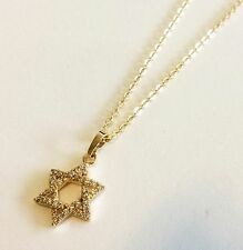 Kabbala 14K Gold filled star of David Jewish necklace pendant CZ Israel made #3