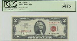 1963 $2 Legal Tender FR#1513 PCGS 66 Gem PPQ