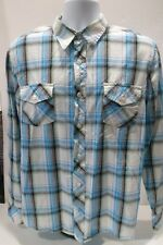 Vintage 80's Ocean Pacific Plaid Checks Long Sleeve Board Shirt Blue White Sz L