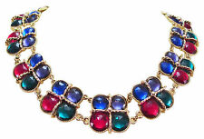 FESTIVE VINTAGE JEWELED NECKLACE EARRINGS 1980's MULTI COLOR FACETED CRYSTALS
