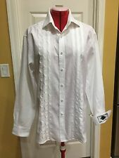 Men's NAT NAST White Paisley Tone on Tone Long Sleeve Shirt, Ace of Spades, Med.