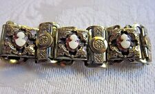 Vintage Karu Brass Link Bracelet - Marked Karu Fifth Avenue~Small Cameo's~RARE