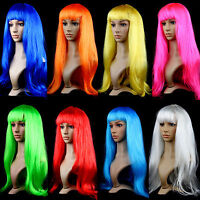 Multicolor Anime Cosplay Synthetic Hair Wig Costume Long Straight Wigs Party