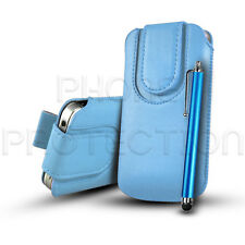 BUTTON PU LEATHER PULL TAB CASE COVER POUCH & STYLUS FOR VARIOUS Orange MOBILES