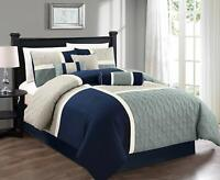 7pc Medallion Quilted Patchwork Duvet Cover Set King, Navy Blue Gray