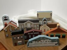 Vintage The Cat'S Meow Lot Of 9 Wooden Village Buildings Faline Signed