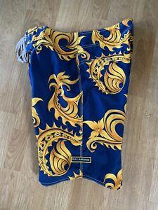 RARE Vintage Gold Paisley Billabong Royal Hawaiian Chain Surf Board Shorts Sz 32