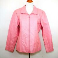 WILSONS LEATHER MAXIMA Women's M - BUBBLEGUM PINK 100% LEATHER JACKET COAT - ZIP