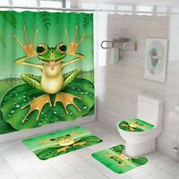 Frog Shower Curtain Set Thick Bathroom Rugs Bath Mat Non-Slip Toilet Lid Cover