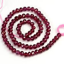 5mm Fine Rhodolite Garnet Faceted Rondelle Beads 14 inch Strand