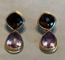 MAZ 14k Yellow Gold Amethyst & Smokey Quartz Dangle Earrings