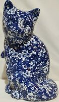 "9 1/2"" Cobalt Blue And White Vintage Porcelain Cat And Flowers Figurine Friend"