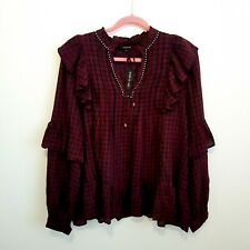 River Island Gingham Studded Ruffle Maroon Navy Smock Blouse Blogger Top 18