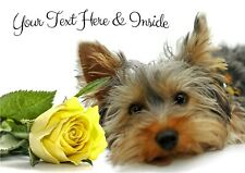 PERSONALISED YORKSHIRE TERRIER YORKIE & ROSE BIRTHDAY ANY OCCASION CARD A5 size