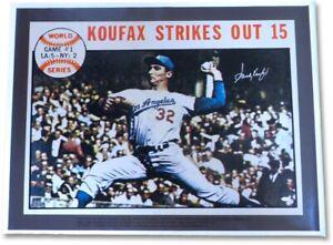 Sandy Koufax Autographed 31X42 Unstretched Canvas Dodgers World Series #/37 JSA