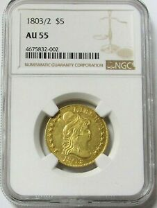 1803/2 GOLD CAPPED BUST CLASSIC $5 COIN NGC ABOUT UNCIRCULATED 55