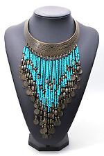 Sky Blue Bohemian Summer Festival Pendant Beads Statement Necklace