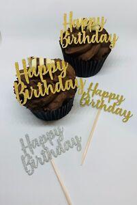 HAPPY BIRTHDAY GLITTER CUPCAKE TOPPERS x12 CUPCAKE PICKS CAKE TOPPER