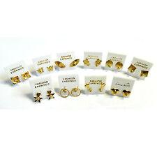 Pendientes de tuerca 100 pares variados brillantes piedras plástico metal dorado