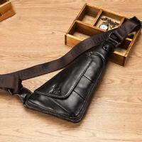 Men's Genuine Leather Sling Chest Bag Crossbody Bag Messenger Shoulder Bag