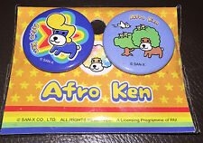 New Afro Ken Badges Safety Pins Japan Collectable 2 pack on card sealed 3cm
