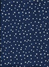 New listing New White Stars on Blue 100% Cotton Fabric by the Quarter Yard