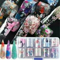 Flower Transfer Nail Foil Manicure Decor Holographic Decals Nail Art Stickersx10