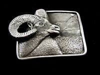 Big Horn Sheep Pewter Belt Buckle by KEV Made in USA 6514 Old New Stock