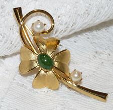 Beautiful Gold Plated Genuine Pearl & Jade Flower Brooch/Pin  AA55