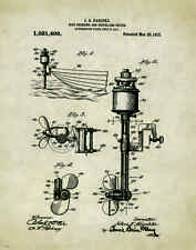 """Fishing Boat Motor  Patent Poster Art  Antique Reels Lures Rods 11""""x14"""" PAT142"""