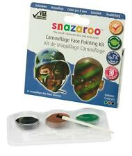 NEW SNAZAROO CAMOUFLAGE ARMY FACE PAINTING PAINTS & BRUSH KIT GREEN BROWN BLACK