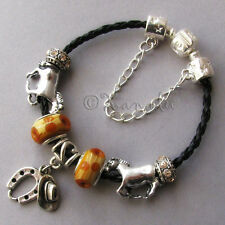 All The Pretty Horses Black Leather Taupe Brown European Style Charm Bracelet