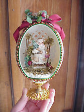 REAL Rhea Egg Collectible Decorated Carved Old St. Nicholas Christmas Decoration