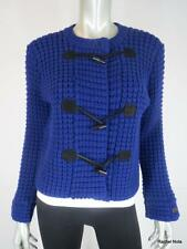 THEORY L Wool Cashmere Suede Toggle Button Chunky Textured Blue Cardigan Sweater