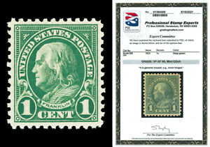Scott 552 1923 1c Franklin Perforated 11 Mint Graded VF-XF-85 NH with PSE CERT!