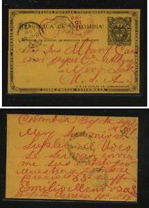 Colombia  nice postal  card  to  US 1889         MS0408