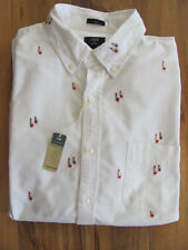 J.Crew Slim Fit Oxford Dress Shirt-Embroidered Sailboats -White- Large-NWT $79