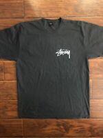 Stussy Pigment Dyed Black Tee Shirt Size XL