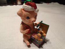 """Piglet Baby Animal Christmas Ornament 3"""" Figurine w/ Cookie Box Danbury w Tag"""