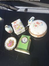 New ListingLot 6 Limoges Porcelain Miniatures Trinket Boxes, Clock, +