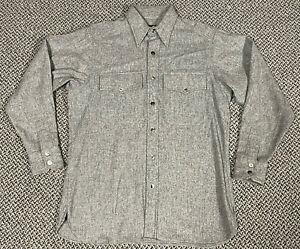 J Peterman Mens Gray Long Sleeve Cotton Flannel Shirt Size Medium