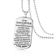 To My Daughter Best I Love You Mom Dog Tag Necklace Birthday Graduation Gift